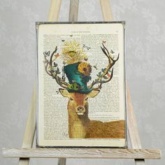 Gorgeous stag print.Other designs available. Available mounted or unmounted, please select from the dropdown menu. The mount measures 11' x 14', which fits standard frames.Our most popular design, the Mad Hatter stag is a splendid addition for your interior. The original painting, created by a talented artist has been reproduced and printed on an original page from a book dating back to the mid 1800. Each one is different with a varying amount of ageing to the page. This gives the print a…