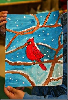 winter cardinals art project for kids