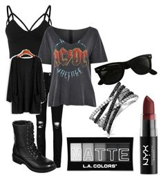 """""""fall outfit"""" by zombiebarbie1333 on Polyvore featuring Boohoo, Topshop, L.A. Colors, NYX, Bling Jewelry, Ray-Ban and Arizona"""