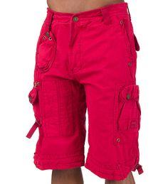 DECIBEL Shorts Red POPLIN CARGO SHORT - Jeans and Bottoms - Man Alive