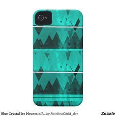 "Phone Case. Blue Crystal Ice Mountain Pattern.Durable & lightweight hard plastic case. Designed for the Apple iPhone 4/4S (AT&T, Verizon, and Sprint models). Printed in the USA. Designer Tip: To ensure the highest quality print, please note that this product's customizable design area measures 4.8"" x 2.95"". For best results please add 1/6"" bleed. @zazzle #phone #case #abstract #blue"