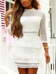 White Lace Hollow Design Crew Neck Long Sleeves Dress