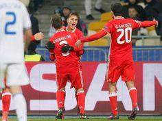 Benfica: jogadores partilham alegria da vitória de Kiev