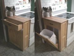 DIY Wood Tilt Out Trash Or Recycling Cabinet TUTORIAL - by: Anna White | Make for large capacity can.