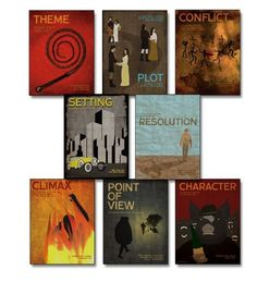 Elements of a Novel Educational Poster Series. Eco-friendly, English Literature Art Prints. Featuring: Character, Climax, Conflict, Plot, Point of View, Resolution, Setting and Theme, http://www.amazon.com/dp/B00C43FX0S/ref=cm_sw_r_pi_awd_hLd.rb174P4G4
