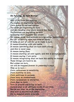 On Turning, by Jack Riemer #fall #poetry