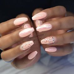 Shimmery Pastel Pink Ballerina Nails