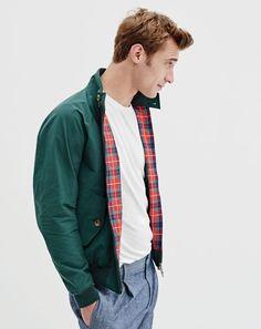 J.Crew men's Baracuta® G9 Harrington jacket, broken-in T-shirt and pleated trouser in Cone Denim® indigo-dyed chambray.