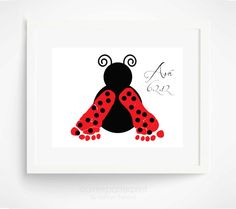 Pink Ladybug Baby Footprint Art Print  Baby by PitterPatterPrint, $30.00