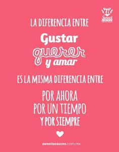 #dia a dia, La diferencia entre gustar, querer y amar es la misma diferencia…