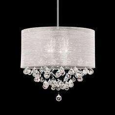 Round Drum Shade 4 Lamp  Crystal Balls Ceiling Light Pendant Chandelier Dia 20""