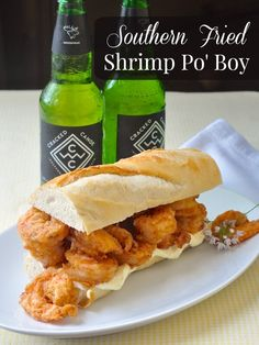 Southern Fried Shrimp Po' Boy - a New Orleans sandwich classic! Crispy fried, seasoned shrimp piled high on French baguette; works great for oysters too!