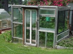 Used windows were donated by the neighbors. This greenhouse was built to fit the windows, without plans. It has 3 sliding windows for ventilation. By Jevan. forums2.gardenweb.com