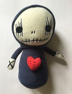 """Skullgnome Boogily Heads Gus Fink 2009 Gray Fleece Skeleton Skull Plush Toy 9"""""""