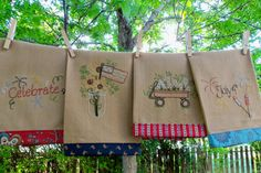 Pattern to Hand Embroider these Patriotic Tea Towels via Etsy