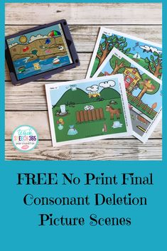 No Print Final Consonant Deletion Picture Scenes Preschool Speech Therapy, Articulation Therapy, Articulation Activities, Speech Language Pathology, Speech Therapy Activities, Speech And Language, Therapy Games, Language Activities, Final Consonant Deletion