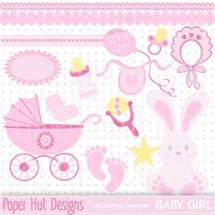 Baby Girl Clipart Pack & Girl Baby Shower Clip by PaperHutDesigns