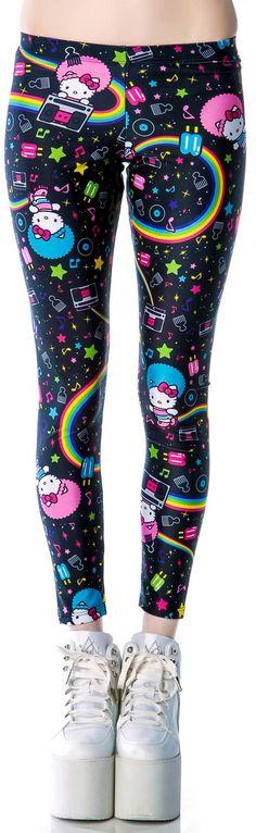 hello kitty leggings I dare my sister(s) to wear these! Chat Hello Kitty, Hello Kitty Clothes, Gyaru, Rockabilly, Cyberpunk, Pijamas Women, Harajuku, Grunge, Girly