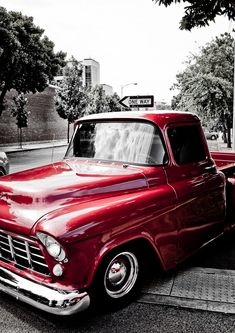 Red Chevy truck...