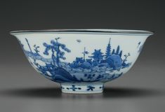 A rare blue and white bowl, Wanli period, late 16th century