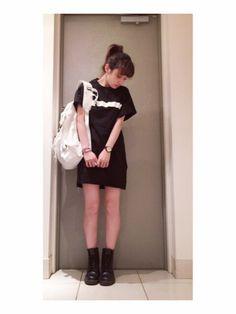 高橋愛さんのワンピース「CATCOPY CATCOPY Tシャツワンピ♡」を使ったコーディネート