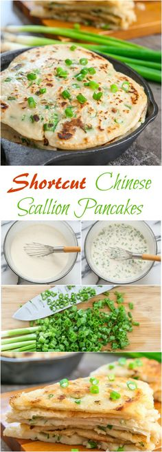 Shortcut Chinese Scallion Pancakes. No kneading necessary!