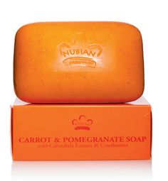 This gentle, moisturizing Carrot and Pomegranate Soap with soothing calendula has a lot more going for it than its gorgeous color! #NaturalBeauty | Nubian Heritage