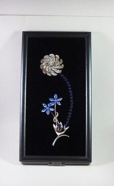 Framed Vintage Jewelry . Home Decor . Crystal AB Brooch . Blue AB Rhinestones . Swarovski Crystal Flower Stem . All Occasion Gift - pinned by pin4etsy.com