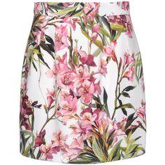 Dolce & Gabbana Mini Skirt ($318) ❤ liked on Polyvore featuring skirts, mini skirts, bottoms, gonne, faldas, white, short floral skirt, white mini skirt, short mini skirts and zipper mini skirt