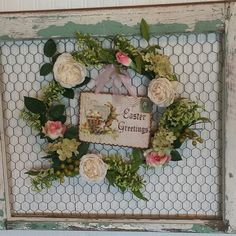 Chippy Shabby Farmhouse chicken wire frame with Easter wreath with vintage Easter bunny postcard. Easter Bunny Decorations, Valentine Decorations, Easter Wreaths, Easter Decor, Spring Wreaths, Easter Ideas, Chicken Wire Crafts, Chicken Wire Frame, Chicken Fence