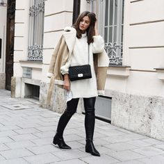 Outfit: Shearling Motor Jacket, Acne Jensen Grain Boots & Chanel Boy Bag Caviar
