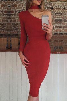 Red Bodycon One Shoulder Midi Dress - US$15.95 -YOINS