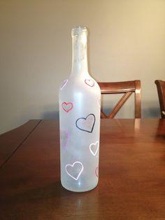 Valentine White Hearts Wine Bottle on Etsy, $15.00