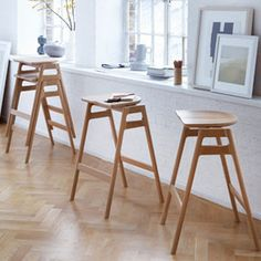 Svelto bar stool designed by Ercol Design Studio for Ercol, product code 1663.  Contoured seat with A frame side panels.  Neat, radiused section.