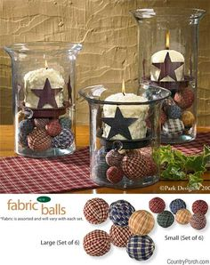 Fabric balls - I can see this in the Jackson household! Fabric balls - I can see this in the Jackson household! Prim Decor, Rustic Decor, Primitive Decorations, Camping Decorations, Americana Decorations, Americana Crafts, Star Decorations, Country Crafts, Country Decor