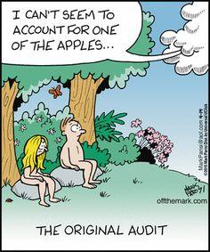Today on Off the Mark - Comics by Mark Parisi Christian Comics, Christian Jokes, Cartoon Jokes, Funny Cartoons, Cute Jokes, Funny Jokes, Accounting Puns, Tax Memes, Religious Humor