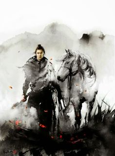 Artist Jungshan (Jungshan) (Rola Chang) Wuxia Magazine cover Project to Wuxia story Magazine publish in China Because this is horse year, and I have to draw a horse with samurai per month. Ronin Samurai, Samurai Art, Art Aquarelle, Watercolor Art, Ink Illustrations, Ink Art, Chinese Art, Japanese Art, Asian Art