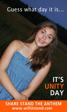 Guess what day it is -- Its' Unity Day!!  http://www.willUStand.com/unityday.php
