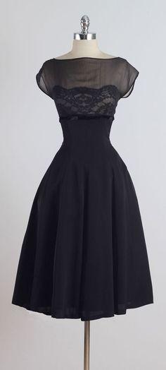 Vintage 1950s Suzy Perette Black Silk Lace Dress
