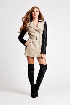 Long-Sleeve Quilted Trench Coat | GUESS.com