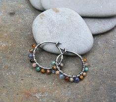 Sterling Silver Hoops 1/2 inch hoops Blue Brown Oxidized #SterlingSilverHoops