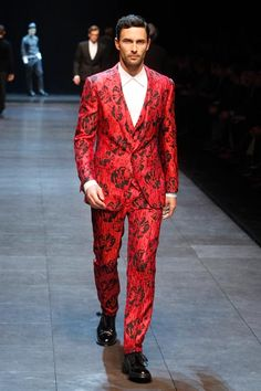 """Dubbed """"Prints Charming"""" - LOVE LOVE LOVE!!!  OK so it looks a little like a Victorian wallpaper, but men needs some new threads!  -  Dolce & Gabbana 2011-2012"""