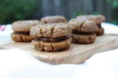 Peanut Butter Cookie Sandwiches with Salted Date Caramel Filling (Dairy-Free, GF)