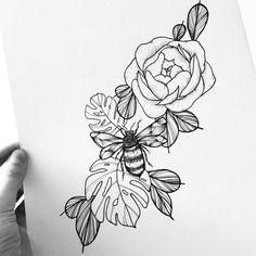 Bees please. #illustrator #illustration #design #sketch #drawing #draw #ink #thedesigntip #linework #dotwork #blackwork #blackworkers #bw #tattoo #tattoodesign #art #artwork #artist #artistic #instaart #instaartist #floral #peony #leaves #nature #botanical #monstera #bee #evasvartur