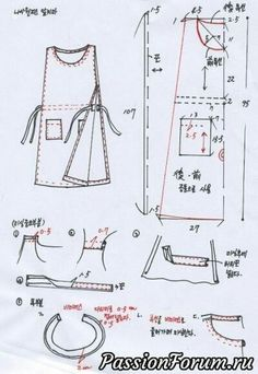 Sewing aprons pattern skirts ideas for 2019 Sewing Patterns For Kids, Dress Sewing Patterns, Clothing Patterns, Pattern Sewing, Pants Pattern, Top Pattern, Japanese Apron, Japanese Sewing, Sewing Tutorials