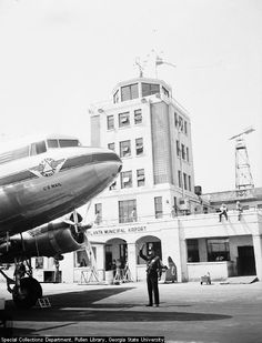 A classic shot of a Delta DC-3 in front of the Atlanta control tower in 1948. After the war it was apparent that this terminal built in 1932 was quickly becoming obsolete. The terminal was closed in May 1948 although the control tower remained in service until 1961.