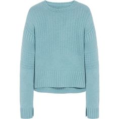 Mulberry Guernsey Mini Jumper ($830) ❤ liked on Polyvore featuring tops, sweaters, powder blue, textured sweater, crewneck sweater, blue crewneck sweater, mini sweater and crop top