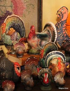 Thanksgiving is always overlooked. I think I found the perfect decoration ~ A collection of vintage turkeys! Time to hit the second hand stores.