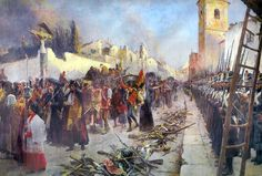 """""""Defenders of Zaragoza out of the city on February 21, 1809"""" by Maurice Henri Orange"""