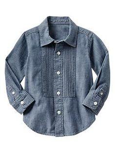 Chambray tuxedo shirt | Gap 12-18 mo but wear as tunic with leggings for little girl?